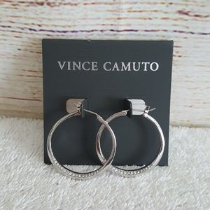 New Vince Camuto Silver Tone Pave Hoop Earrings